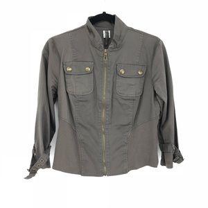 XCVI Sz M Military Style Cropped Jacket Green